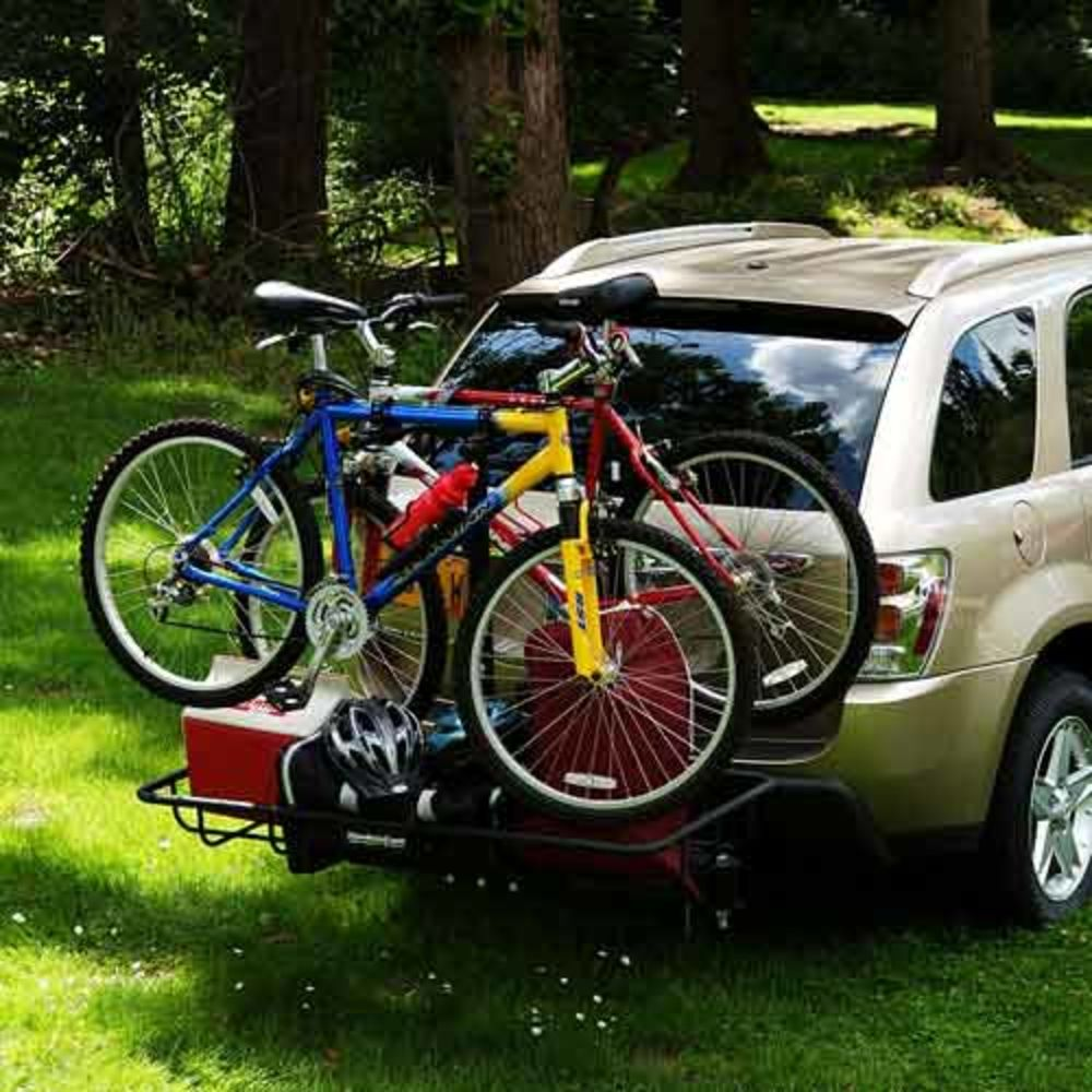 bike cargo rack with bikes and other gear