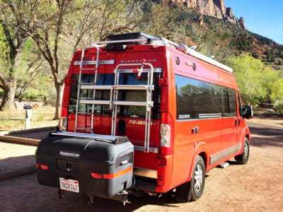 Sprinter Van at Rest Stop in Mountains with StowAway Max Cargo Box