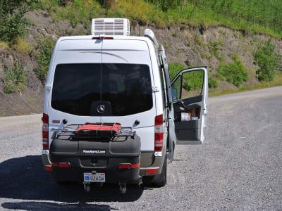 Sprinter Van with StowAway Max Cargo Box in Yukon Canada