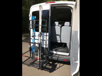 Ford Transit Van with StowAway Ski Rack with Door Open