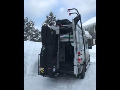 Sprinter Van with StowAway Ski Box Half Open