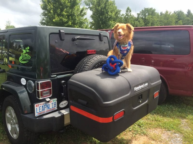 Jeep Wrangler with StowAway Max Box and Dog Libby