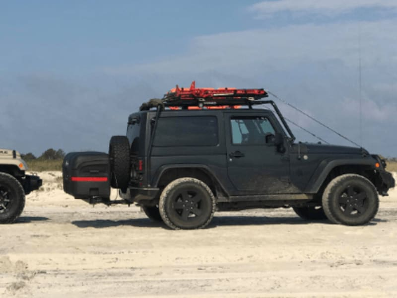 Jeep Wrangler with StowAway Max Cargo Box on Beach
