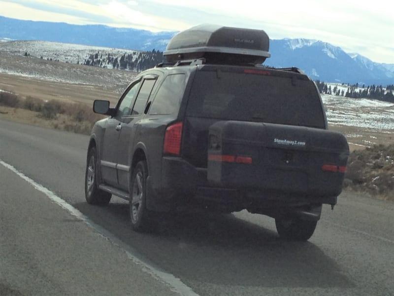 Nissan Armada with StowAway Max Cargo Box on Utah Ski Trip