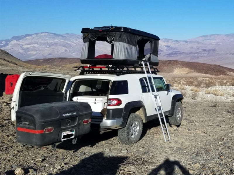 Toyota FJ Cruiser with StowAway Max Hitch Cargo Carrier Camping
