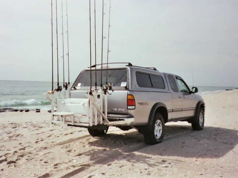 Toyota Tundra Surf Fishing with Custom Rod Rack