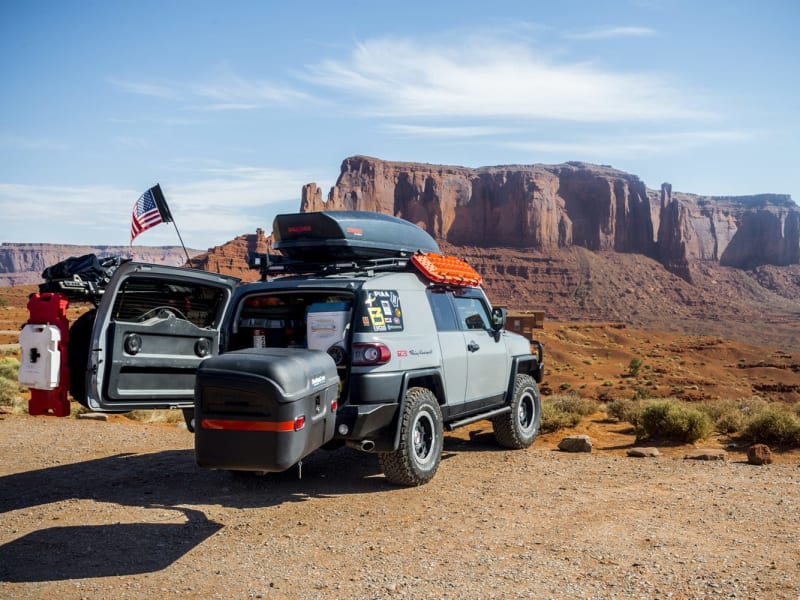 Toyota FJ Cruiser with StowAway Max Cargo Box Swung Out