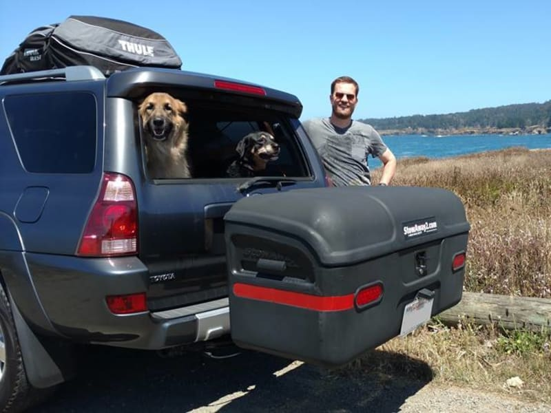 Toyota SUV with StowAway Max Hitch Cargo Carrier and Dogs