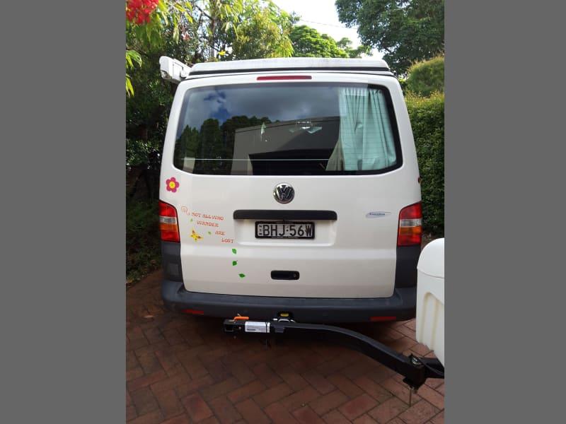 VW Eurovan with White StowAway Standard Cargo Box Swung Open