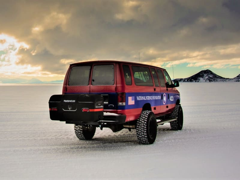 Rear View of Van in Antarctica with StowAway Max Cargo Box