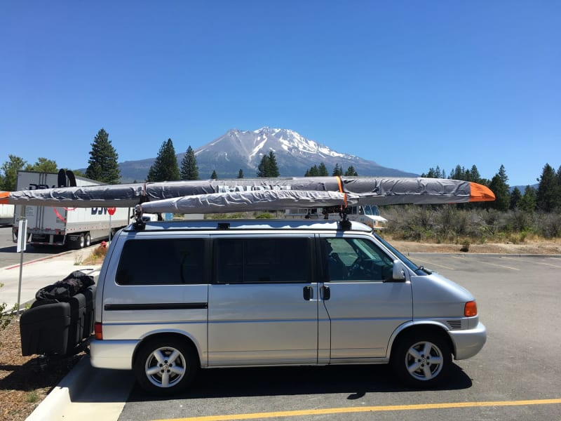 Eurovan with StowAway Max Hitch Cargo Carrier at Mt. St. Helens