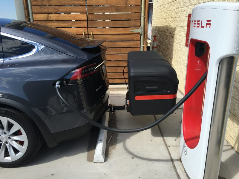 StowAway Max Cargo Box on Tesla at Charging Station