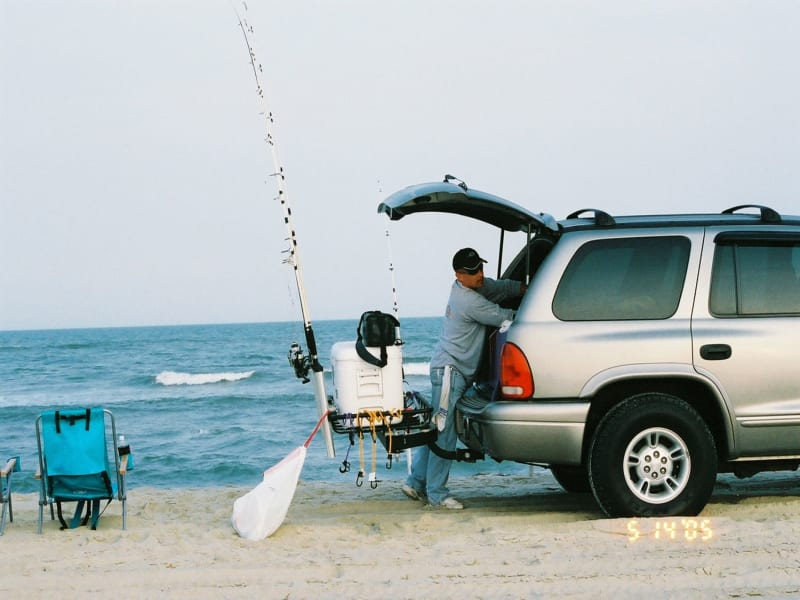 StowAway Rod Rack on Dodge Vehicle on Beach