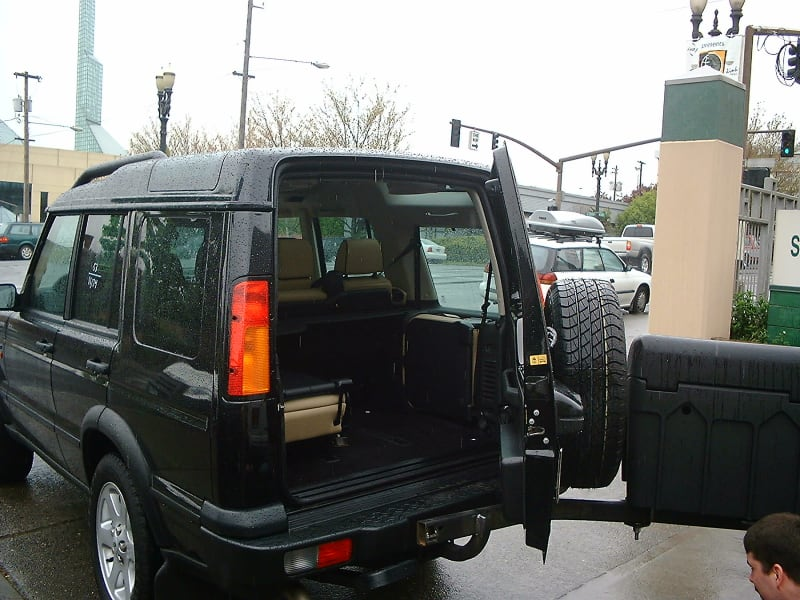 StowAway Standard Cargo Box on Land Rover with Spare Tire