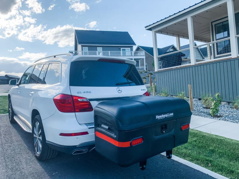 White Mercedes GL450 with black StowAway Max Cargo Box