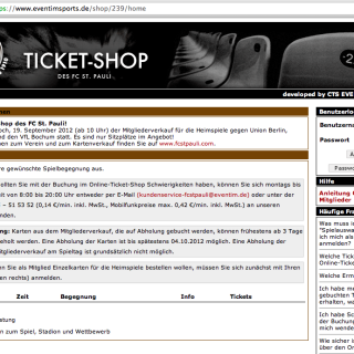 Online Ticket-Shop FC St. Pauli (Screenshot)