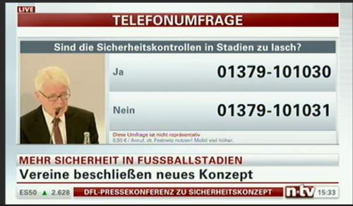 """Zu medienpolitischen Dokumentationszwecken: n-tv zur PK der DFL """"Sicheres Stadionerlebnis"""" Screenshot: SPNU, Programm n-TV"""