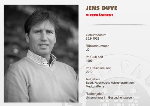 Bildschirmfoto FC St. Pauli - Jens Duve