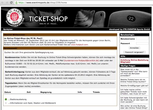 Online Ticket-Shop FC St. Pauli (Screenshot)
