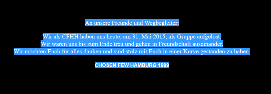 cfhh HSV Ultras Chosen Few Aufloesung