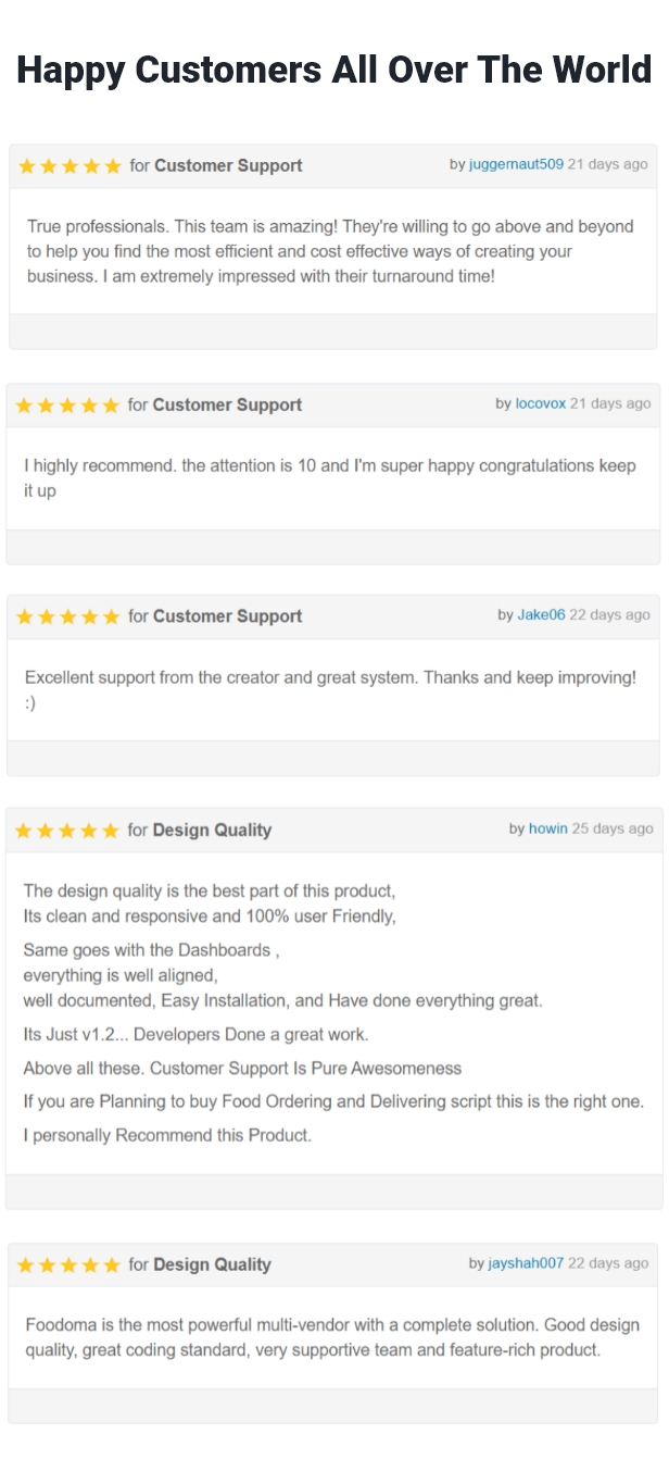 happy customers reviews