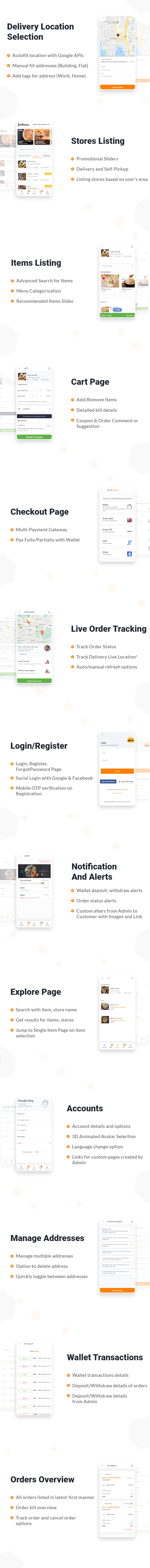 Customer Application features
