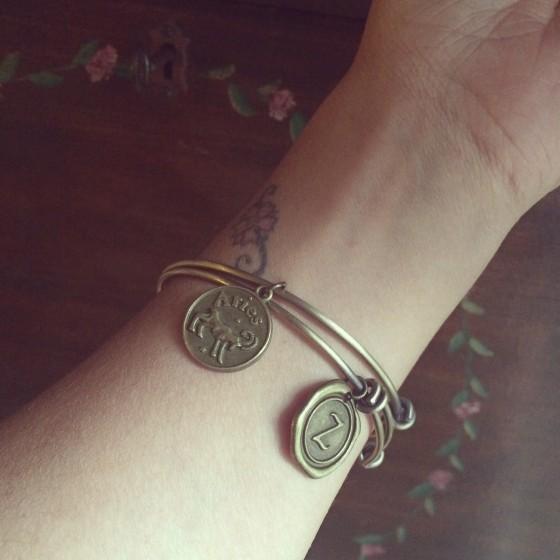 Zodiac Charm Bangle Bracelet - Antiqued Brass