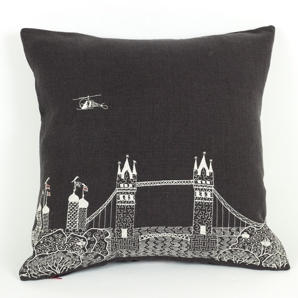 trouva charlene mullen the tower bridge by night linen cushion. Black Bedroom Furniture Sets. Home Design Ideas