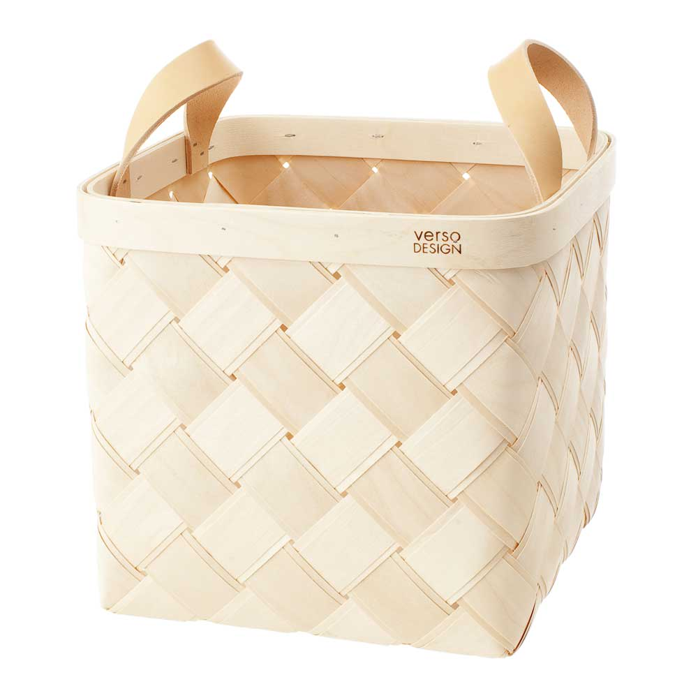 Verso Design VS Lastu Handmade Medium Birch Basket with Beige Leather Handle