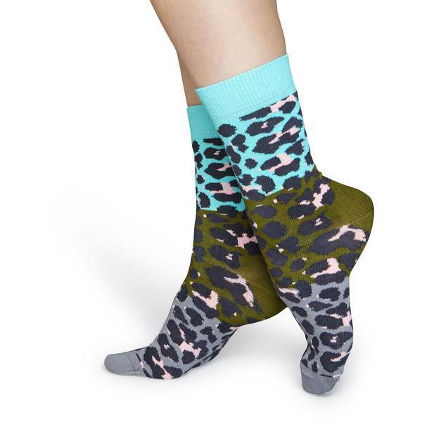Happy Socks  Blue Gray Block Leopard Socks