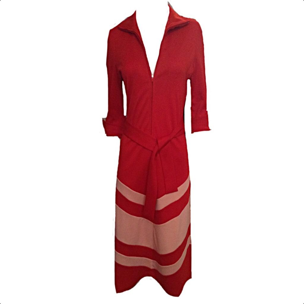 The West Village Red Chevron Shirt Dress