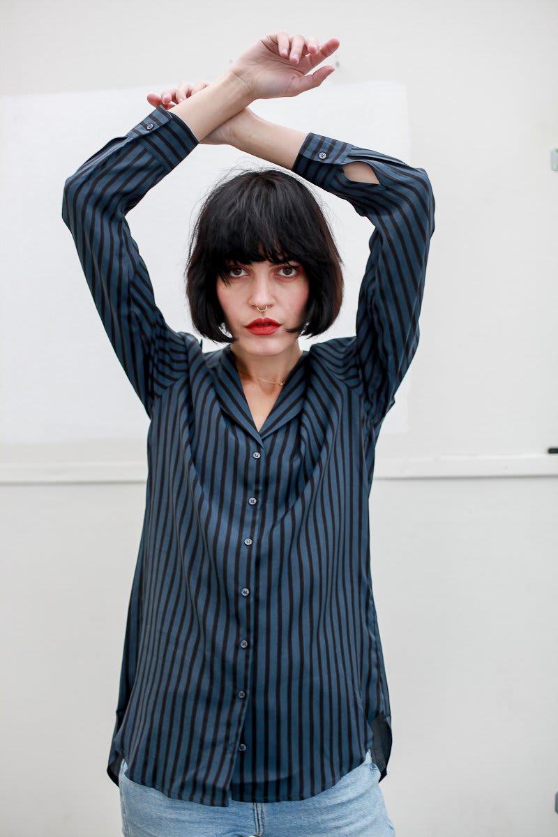 Yaya Black Blue Stripe Blouse