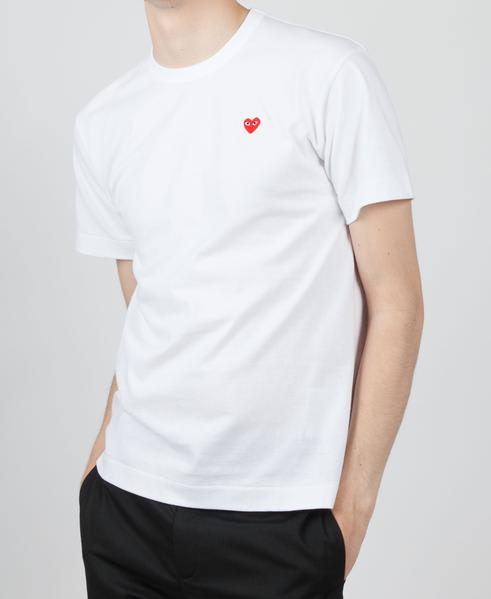 Comme Des Garcons Play White PLAY T-Shirt With Tiny Red Heart Logo