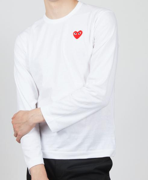 Comme Des Garcons Play White PLAY Red Heart Logo Long Sleeve T-Shirt