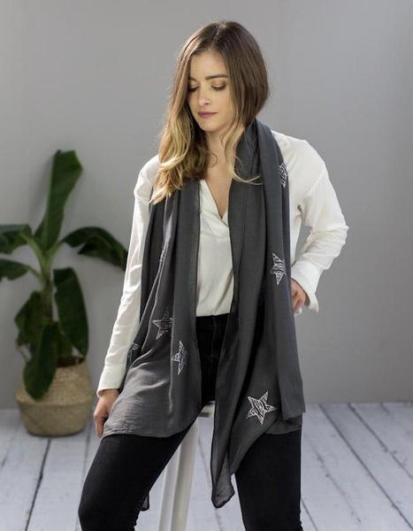 The Forest & Co. Charcoal  Monogrammed Scarf With Silvered Stars