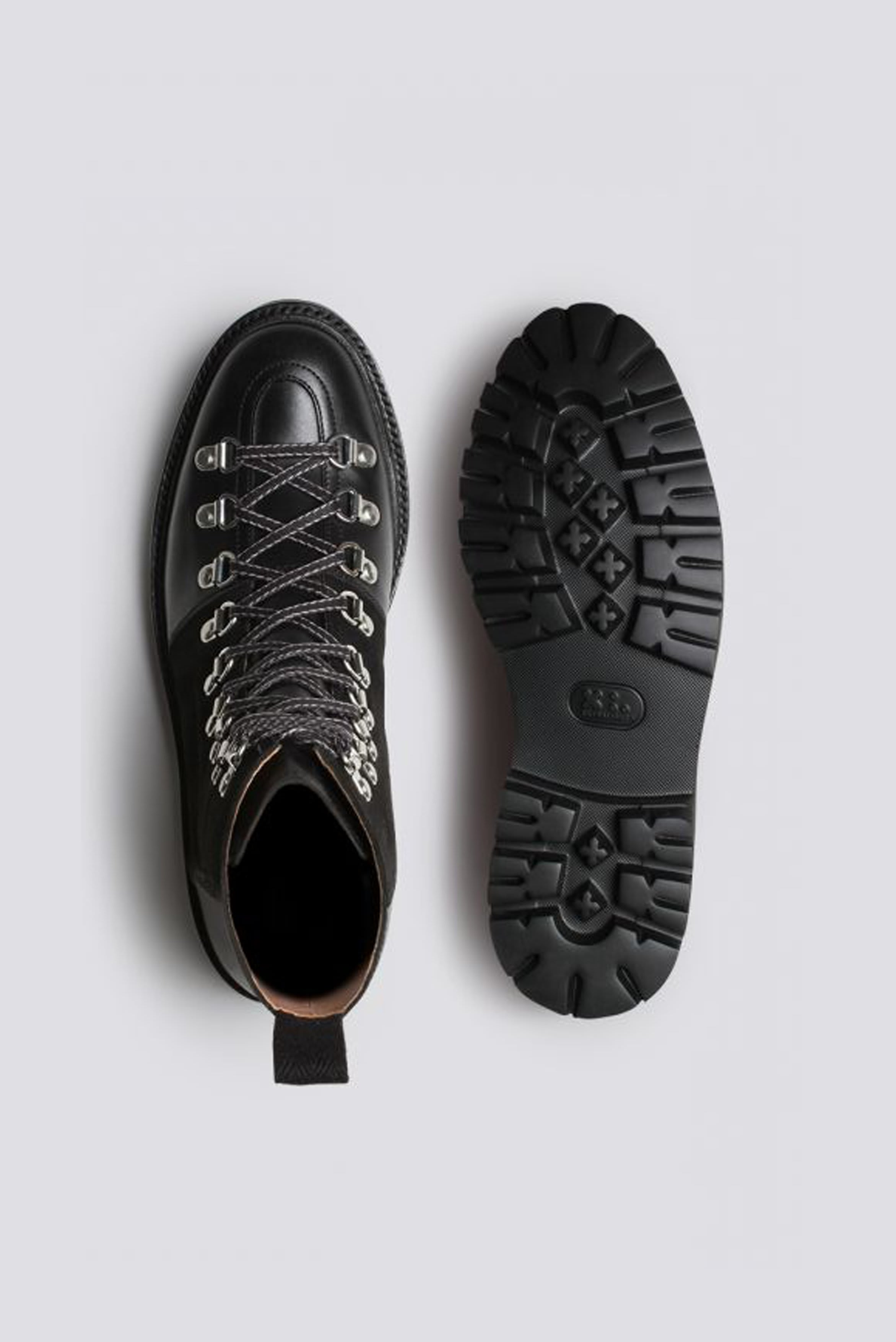 Grenson Nanette Black Leather Suede Hiker Boots