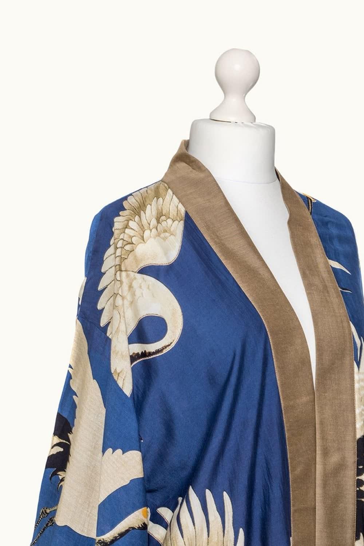 One Hundred Stars Navy Stork Collar Kimono