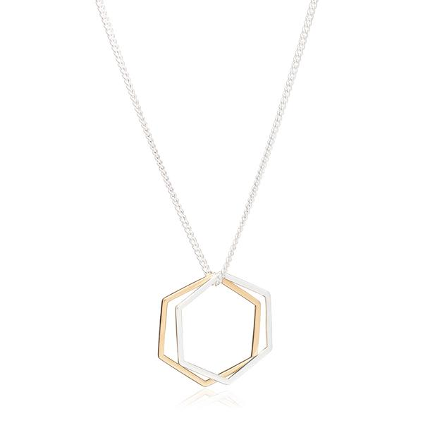 Rachel Jackson Gold And Silver Hexagon Rings Necklace