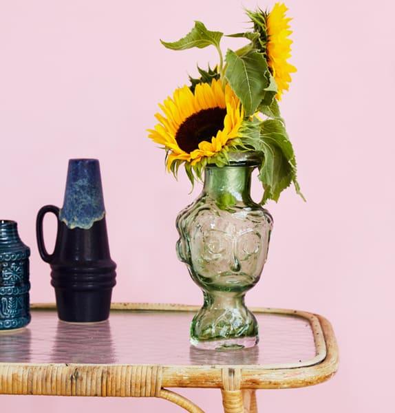 Kitsch Kitchen Carlos Green Glass Head Vase