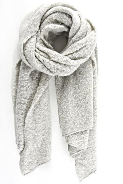 Hare and Home Light Grey Textured Asymmetric Scarf