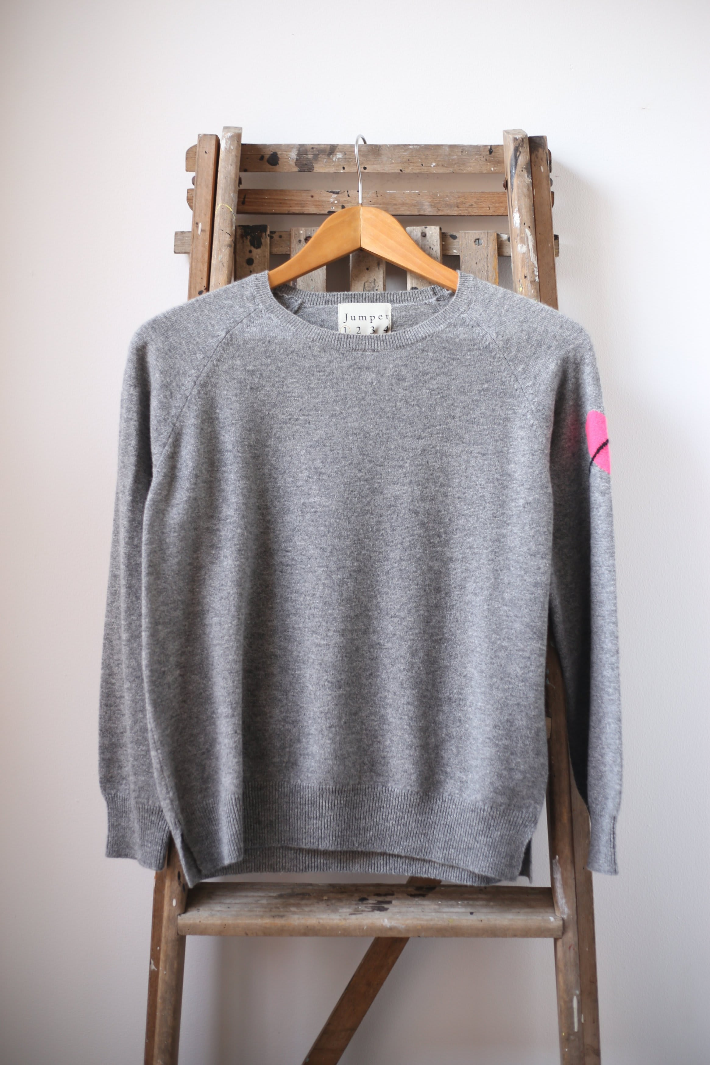 Jumper 1234 Grey Heart On Sleeve Cashmere Sweater