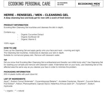 Ecooking Men Facial Cleansing Gel 200 ml (UK&EU only)