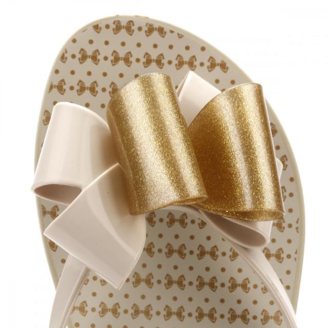 a2e60bd0185f Trouva  Zaxy Womens Ivory Gold Glitter Link Twin Bow Flip Flops