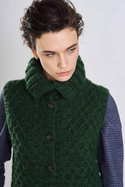 5b9574cbd7 Trouva  Clara Hand Knitted Sleeveless Cardigan
