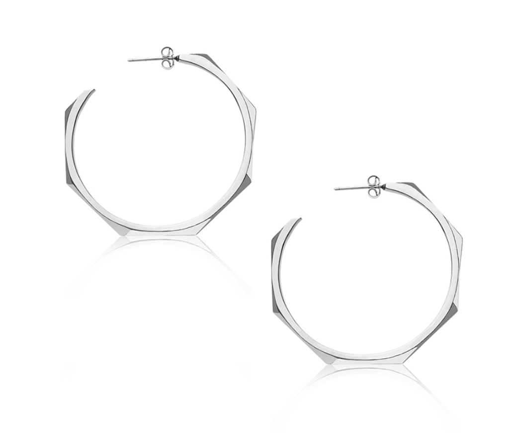 trouva  edge of ember facet silver hoops