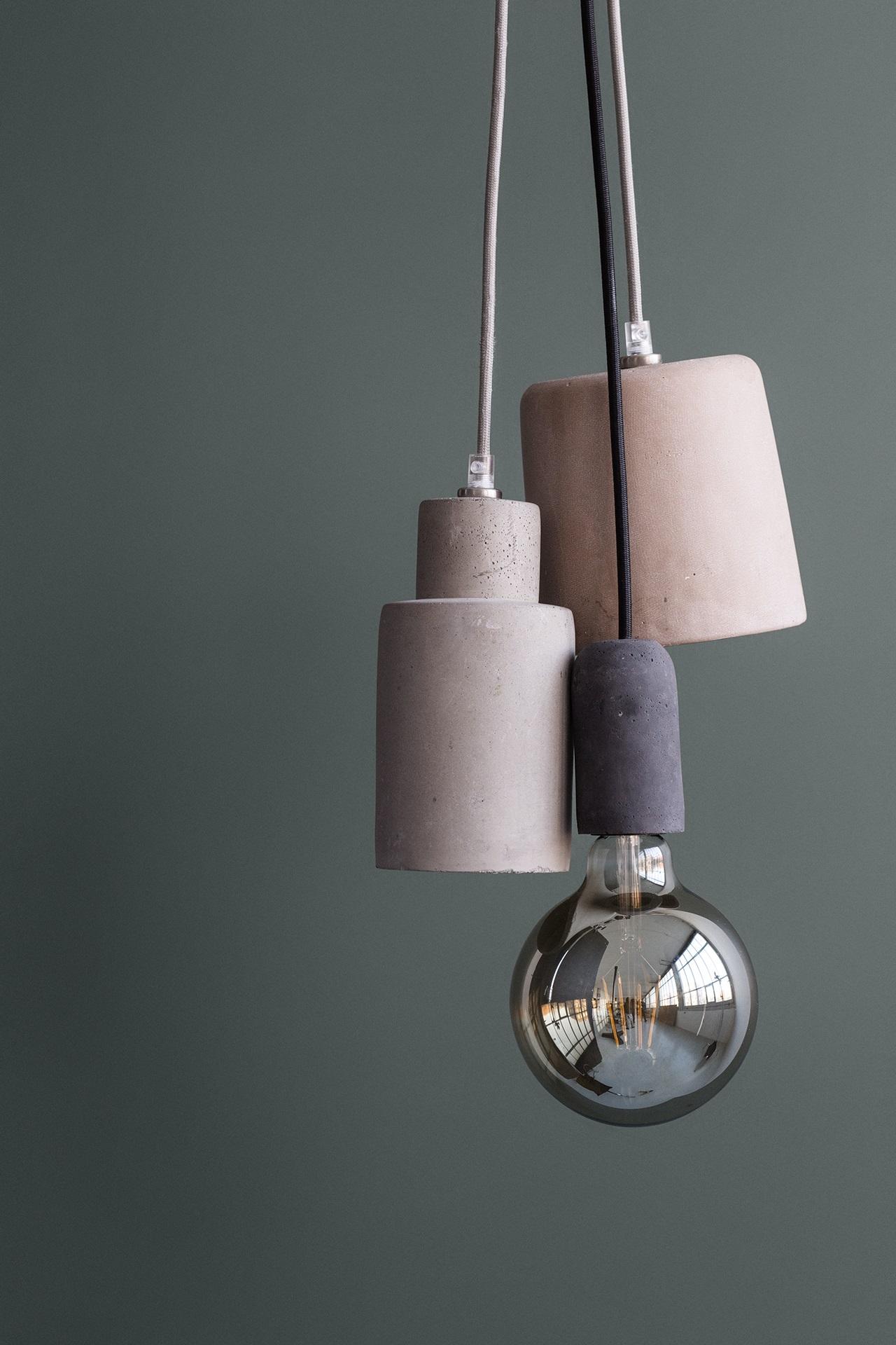 Trouva Broste Copenhagen Gerd Dark Grey Concrete Ceiling Lamp