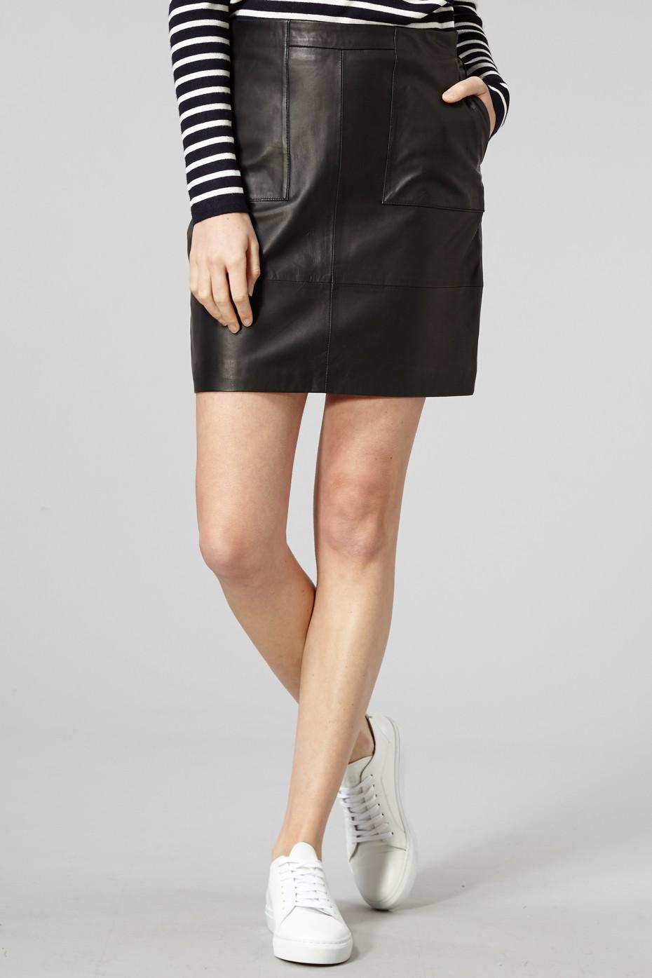bd8bd3cb3e Trouva: Black Alberte Leather Skirt