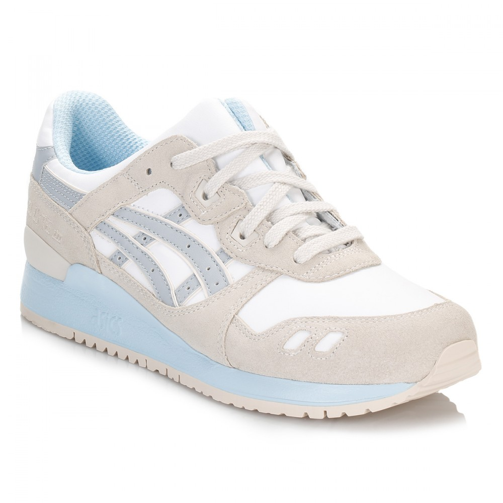 Womens White Light Grey Gel Lyte III Trainers
