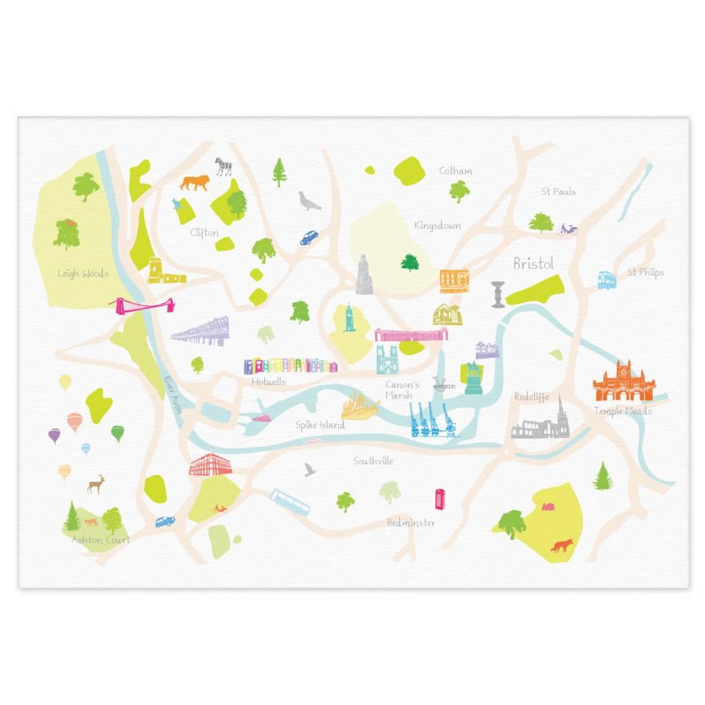 Map Of Bristol England.Holly Francesca Map Of Bristol A3 Print