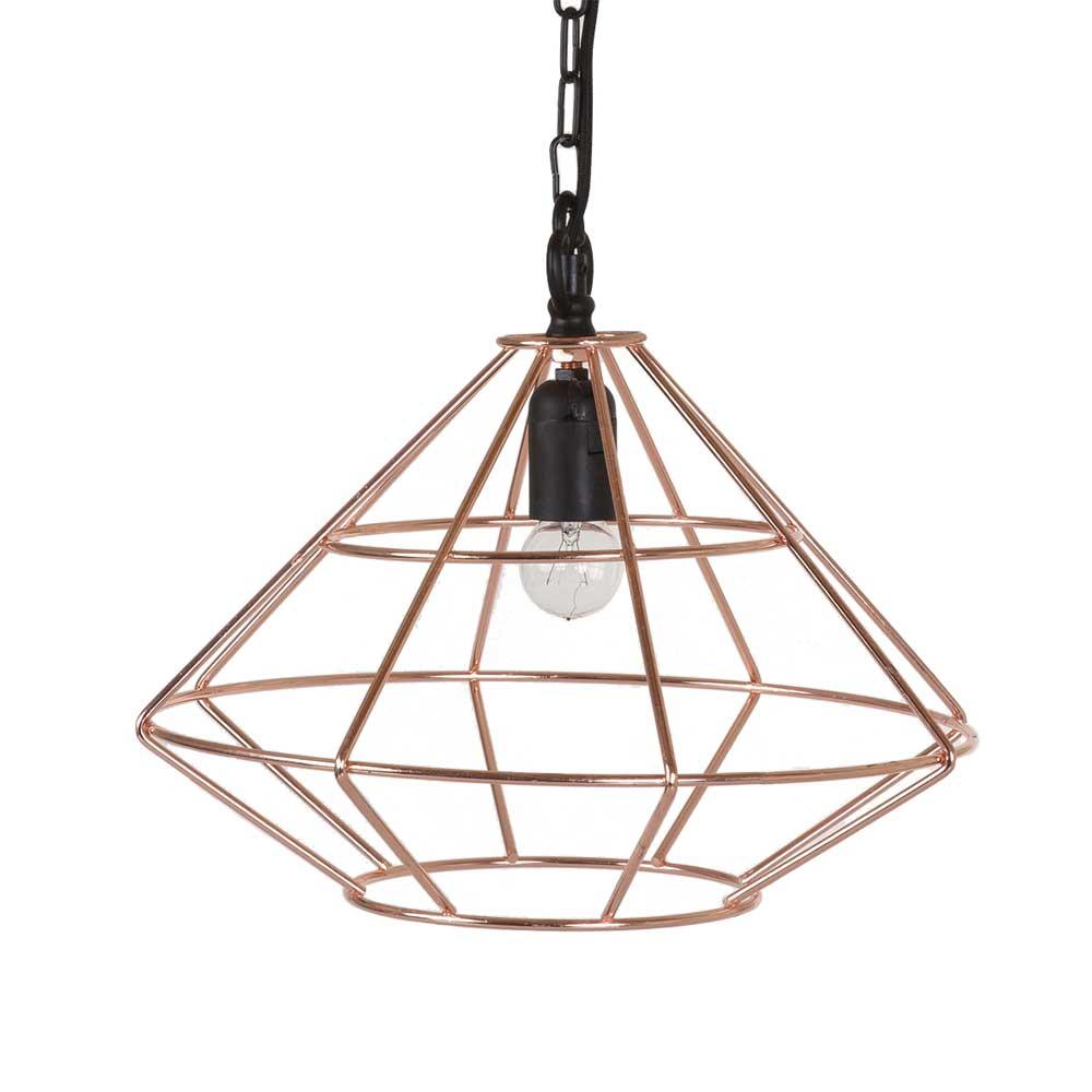 Bahne copper geometric diamond cage pendant light
